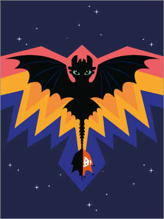 Plakat  Toothless - Dragon wings