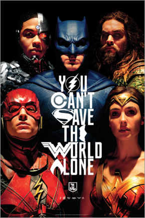Obraz na drewnie  Justice League - Can't save the world alone