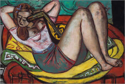 Obraz na drewnie  Woman with a mandolin in yellow and red - Max Beckmann