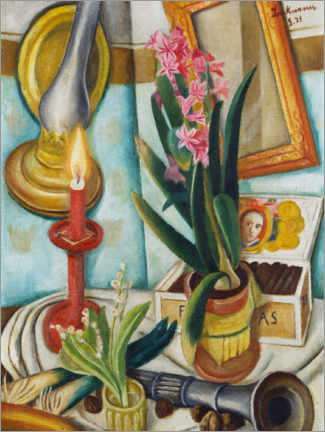 Plakat  Still life with a burning candle - Max Beckmann