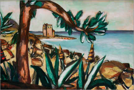 Gallery print  Seascape with an old castle and agaves - Max Beckmann