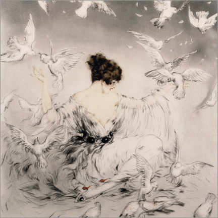 Obraz na drewnie  Girl with pigeons - Louis Icart