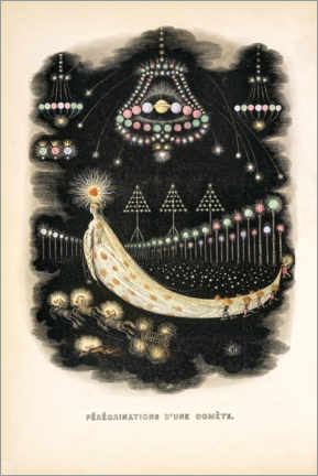 Obraz na drewnie  The Peregrinations of a Comet (french) - J.J. Grandville