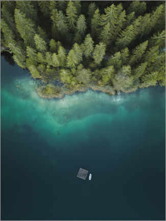 Obraz na aluminium  Forest by the lake from above - Lukas Saalfrank
