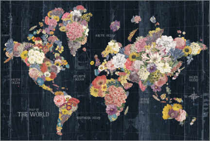 Plakat World map made of flowers