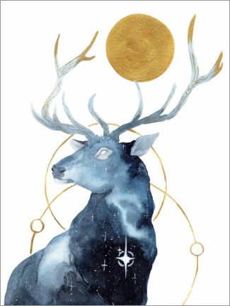 Gallery print  The deer under a gold star - Déborah Maradan