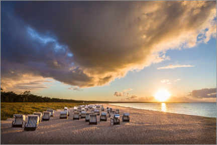 Plakat  Baltic Sea beach chairs in the sunset - Christian Müringer