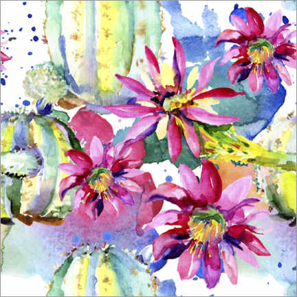 Obraz na szkle akrylowym  Pink gerberas and cacti in watercolor
