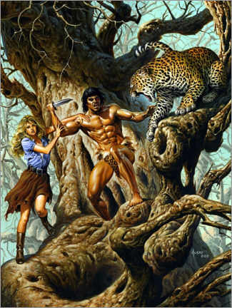 Gallery print  Tarzan protects Jane from the leopard
