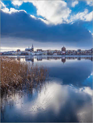 Gallery print  View over the Warnow to the Hanseatic city of Rostock in winter - Rico Ködder