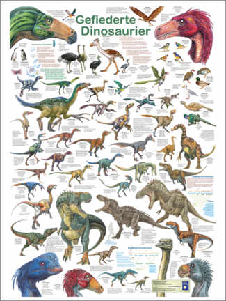 Obraz na drewnie  Feathered dinosaurs - Planet Poster Editions