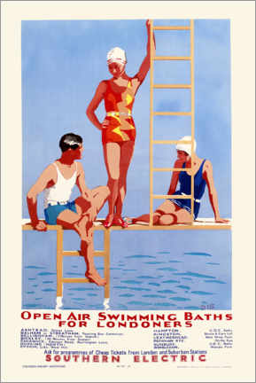 Plakat  Open Air Swimming Baths for Londoners - English School