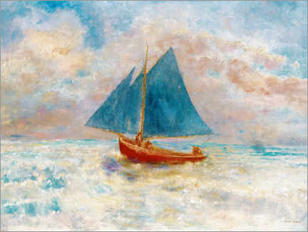 Obraz na płótnie  Red boat with blue sails - Odilon Redon