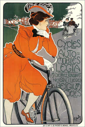 Plakat Bicycles and automobiles