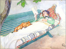 Naklejka na ścianę  Woman lying on a bench - Carl Larsson