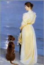 Gallery print  Summer Evening at Skagen. The Artist's Wife and Dog by the Shore - Peder Severin Kr?yer