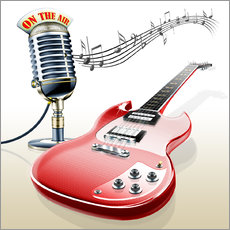Gallery print  Electric guitar with microphone and music notes - Kalle60