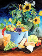 Naklejka na ścianę  Still life with sunflowers, fruits and cheese - Gerhard Kraus