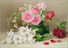 Naklejka na ścianę  Roses and lilies - Mary Elizabeth Duffield