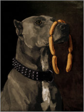 Naklejka na ścianę  Great Dane with sausages - Wilhelm Trübner