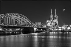 Gallery print  Cologne Cathedral and Hohenzollern Bridge at night (b / w) - rclassen
