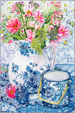 Gallery print  Gerberas in a porcelain pot with other vessels - Joan Thewsey