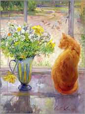 Naklejka na ścianę  Cat with flowers in the window - Timothy Easton