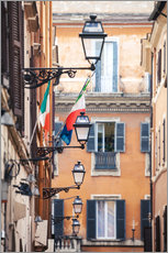 Naklejka na ścianę  Street in the centre of old town with italian flags, Rome, Italy - Matteo Colombo