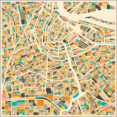 Naklejka na ścianę  Map of Amsterdam - Jazzberry Blue