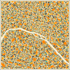 Naklejka na ścianę  Paris map colorful - Jazzberry Blue