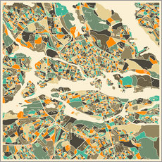 Naklejka na ścianę  Stockholm Map - Jazzberry Blue