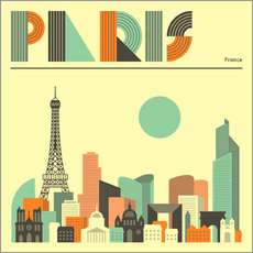 Naklejka na ścianę  Paris skyline - Jazzberry Blue