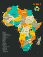 Gallery print  Africa Map - Jazzberry Blue