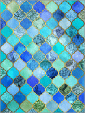 Obraz na szkle akrylowym  Cobalt blue, gold moroccan tile pattern - Micklyn Le Feuvre