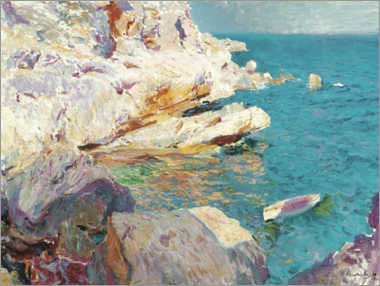 Obraz na drewnie  Rocks of Jávea and the white boat - Joaquín Sorolla y Bastida