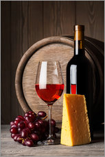 Naklejka na ścianę  Red Wine with Cheese and Grapes