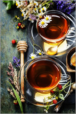 Naklejka na ścianę  Herbal tea with honey, berry and flowers