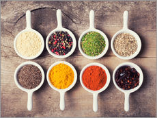 Gallery print  Spices and herbs in ceramic bowls