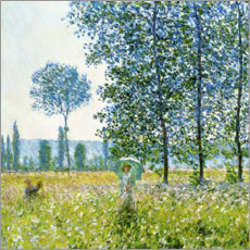 Obraz na szkle akrylowym  Under the poplar trees - Claude Monet