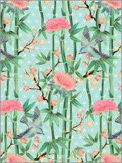 Naklejka na ścianę  bamboo birds and blossoms on mint - Micklyn Le Feuvre