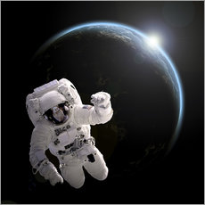 Naklejka na ścianę  Astronaut floating in space as the sun rises on to Earth-like planet. - Marc Ward