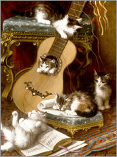 Naklejka na ścianę  Kittens at play with a guitar - Jules Le Roy