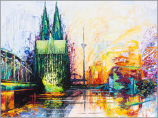 Gallery print  Cologne Cathedral Skyline colored - Renate Berghaus