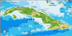 Obraz na drewnie  Map of Cuba