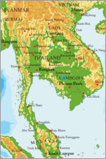 Plakat  Map of Thailand