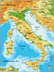 Plakat  Map of Italy