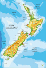 Obraz na aluminium  Map of New Zealand