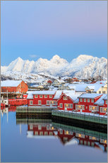 Naklejka na ścianę  Pink sunset over the typical red houses reflected in the sea, Svolvaer, Lofoten Islands, Arctic, Nor - Roberto Sysa Moiola