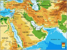Gallery print  Middle East - Topographic Map