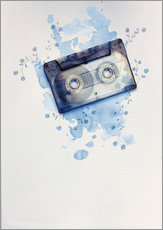 Naklejka na ścianę  Music tape with flowers and watercolour wash - Sybille Sterk